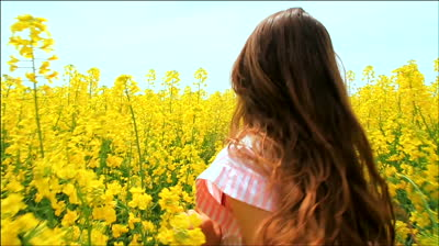 stock-footage-young-woman-in-vintage-dress-running-through-yellow-field-touching-flowers-hd